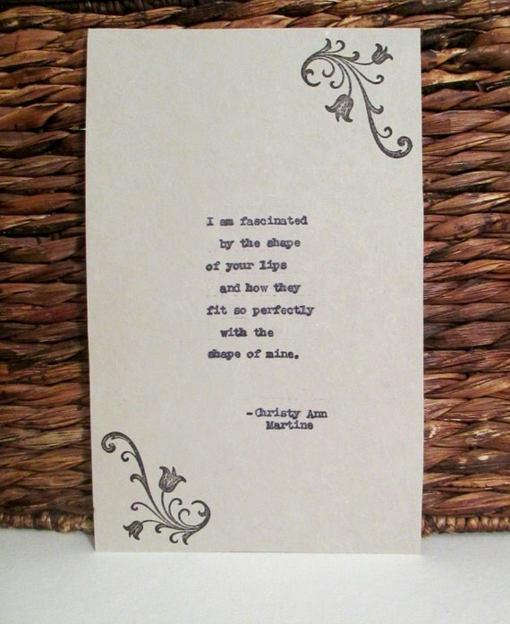 Girlfriend Gift for Anniversary - Love Poem Typed by Writer with Vintage Typewriter - With or Without Stamp Design