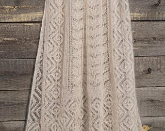 Hand knit lace shawl, Alpine Knit Scarf, wedding luxury kidsilk stole,Victorian lace shawl. Bridal knit lace shawl