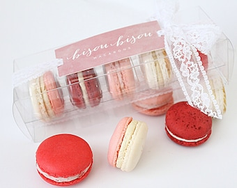 French Macaron Gift Box Pretty in Pink Gift Raspberry-Strawberry-Rose-Vanilla-Red Velvet Edible Macarons--Best French Macaron