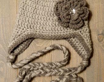 Grey Crochet Earflap Flower Hat, winter hat, sizes newborn-adult, item # 203