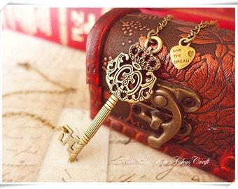 Skeleton Key Necklace, Vintage Key Necklace, Antique Key Necklace, Sideways Key Necklace, 21st Birthday Gift Bib Necklace Statement Necklace