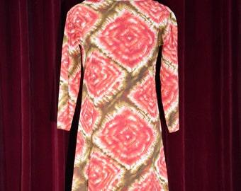 Red Tie-Dye Cotton  Mini Dress