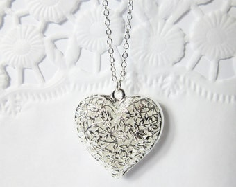 Sterling silver chain / Silver plated heart pendant / Wedding jewelry / Romantic gift / Magic Love necklace / Positive Life Force Energy