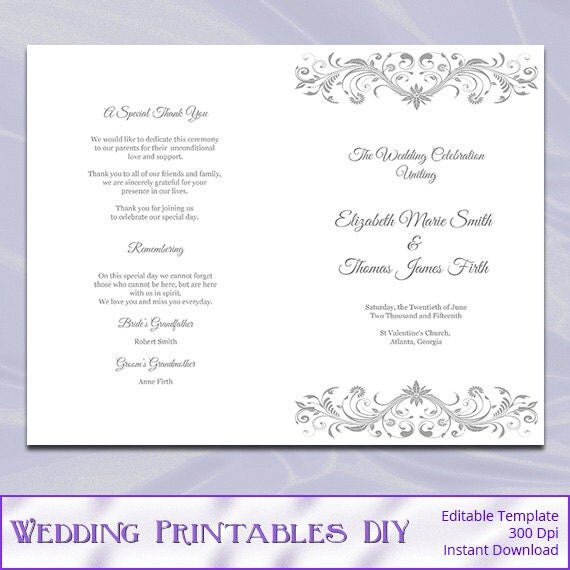 Wedding program template diy silver gray order of ceremony for Catholic wedding mass booklet template