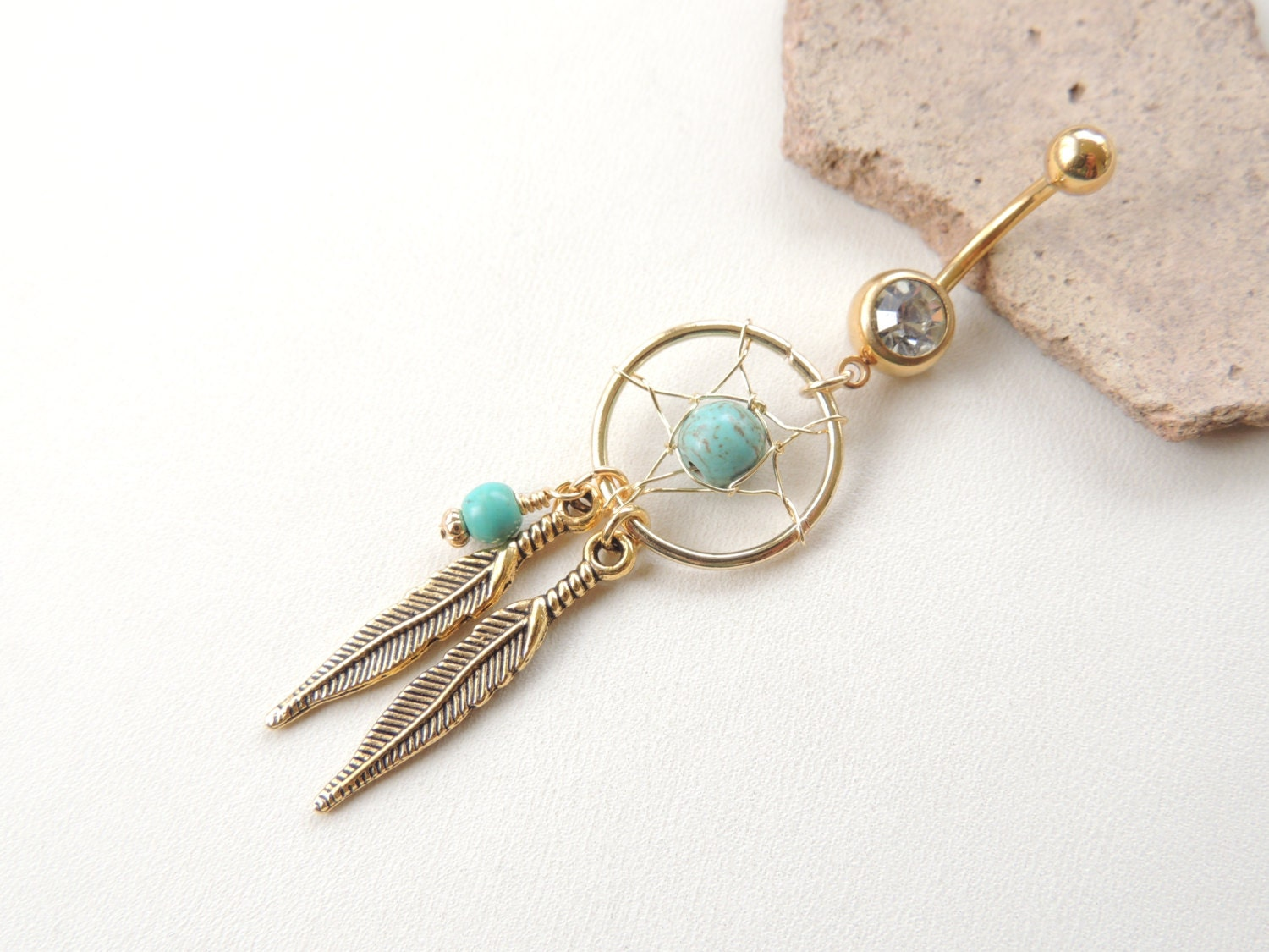 dream catcher belly button ring tribal boho gypsy navel ring