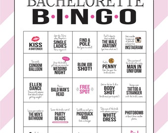 Bachelorette Party Game Bingo Dare Sheet Digital File Print It Yourself