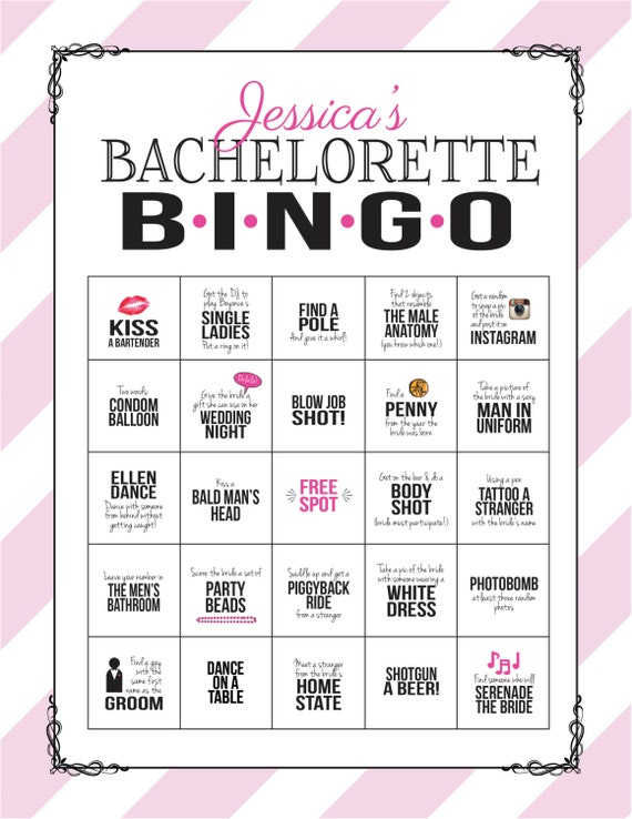 Bachelorette party game bingo dare sheet digital file print like this item solutioingenieria Images