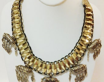 Old Gold Beaded Necklace / Tribal Bib Necklace / Statement necklace.
