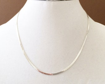 """Sterling Silver Textured Herringbone Necklace 18"""" x 2.5mm"""