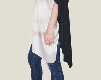 Oversized Tunic Dress Top/Print Tunic/Women Casual Top/Silk and Jersay Tunic/Casual Tunic/Fashion Top/Print Top/F1075