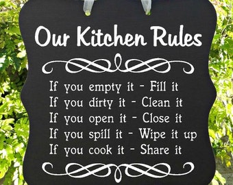 Kitchen Sign, Our Kitchen Rules, House Rules, Home Decor, Wall Art