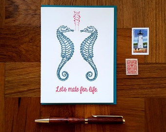 Let's Mate for Life, Seahorses, Letterpress Note Card, Blank Inside