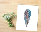 Feather Watercolor Art Printable | Tribal Feather | Tribal Art | Feather Print | Pink Feather | Blue Feather, INSTANT DOWNLOAD