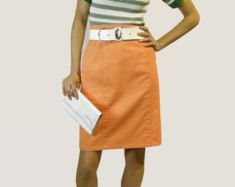 Céline | Vintage | 1980s | Skirt | Thick cotton | Orange | Pencil skirt