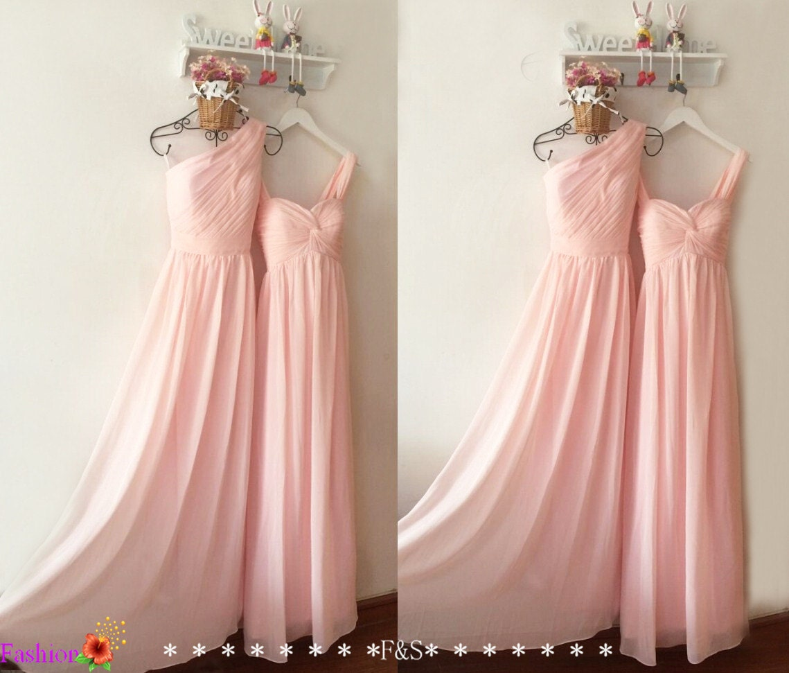 Light Pink Bridesmaid DressesLong Chiffon Cheap Prom