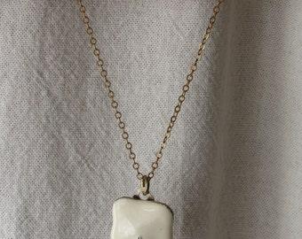 Vintage Upcycled Enamel Pendant Necklace; cream color enamel, gold-tone metal chain