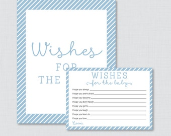 Wishes for Baby Baby Shower Activity Blue Baby Shower Well Wishes for Baby Cards and Sign - Printable Instant Download - Blue Stripes
