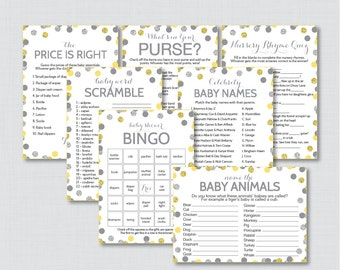 Yellow and Gray Baby Shower Games Package with Glitter Dots - Seven Printable Games: Bingo, Price is Right, Purse Game, etc - 0023-Y