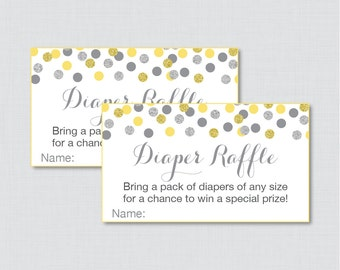 Yellow and Gray Baby Shower Diaper Raffle Tickets and Diaper Raffle Sign - Printable Yellow Glitter Diaper Raffle Cards, Sign - 0023-Y