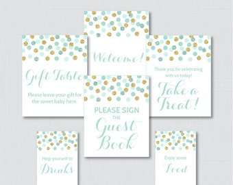 Printable Mint Baby Shower Table Signs - SIX Signs! Welcome Sign, Favors Sign, etc - Instant Download - Mint and Gold Table Signs 0008-M