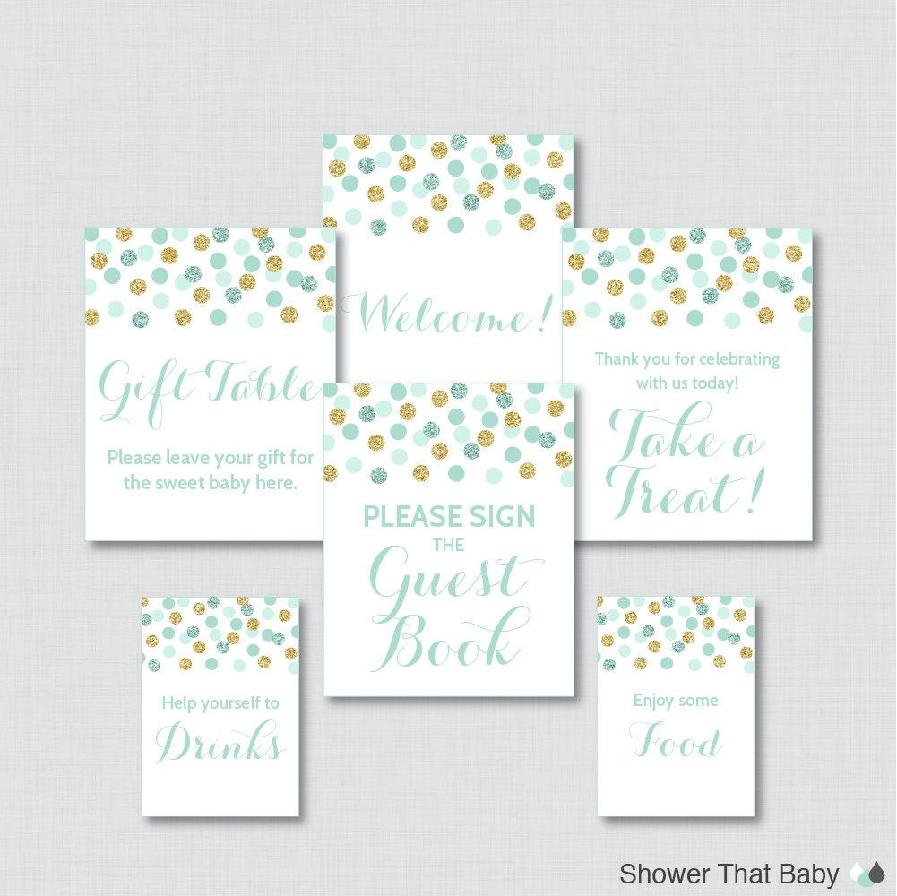 printable mint baby shower table signs six signs welcome
