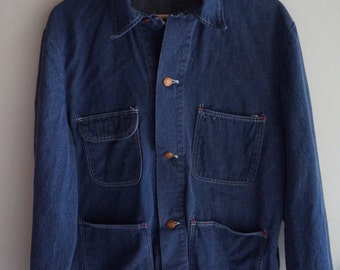 Vintage Denim 60's / 70's Shell Chore Coat - Shell OIl / Gasoline Logo on Back - Indigo Workwear Medium / Large