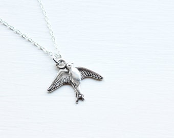 Swallow Bird Charm Necklace - Feather Festival Boho Charm Necklace Pendant