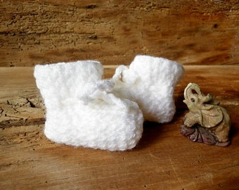 White Crocheted Baby Booties, Infant booties,  Newborn Booties, Handmade Baby Booties, Newborn Baby Clothes, Knitted Baby Clothes