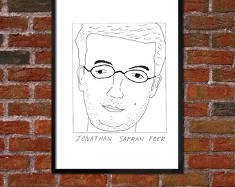 Badly Drawn Jonathan Safran Foer  - Literary Poster - *** BUY 4, GET A 5th FREE***