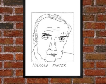 Badly Drawn Harold Pinter - Literary Poster