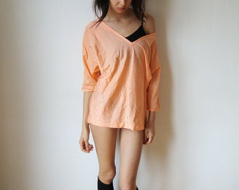 FLASHDANCE TSHIRT -top, pastel, salmon, peach, 80s, ribbed, striped, blouse, long sleeve, dance, cute, indie, shiny-