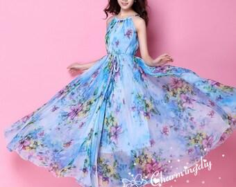 60 Colors Chiffon Blue Flower Long Party Dress Evening Wedding Maternity Lightweight Sundress summer Holiday Beach Bridesmaid Maxi Skirt