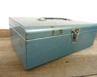 Vintage industrial metal storage box // blue metal cash box