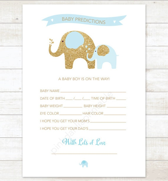 Baby Prediction Card Baby Blue And Gold Baby Shower Game Diy