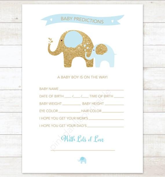 ... baby shower game DIY elephants blue gold baby boy digital shower games