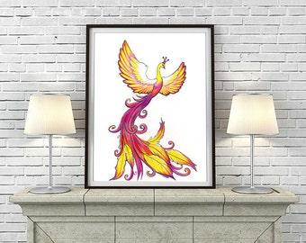 Phoenix Rising Tattoo Red Yellow Drawing PRINT, Bird phoenix Illustration, Fantasy Phoenix Wall Decor, Kids Room Art, Living room Wall Decor