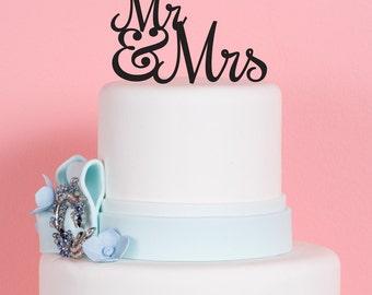 Wedding Cake Topper - Mr. & Mrs. - Acrylic Cake Topper