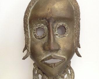 Vintage Brass African Mask