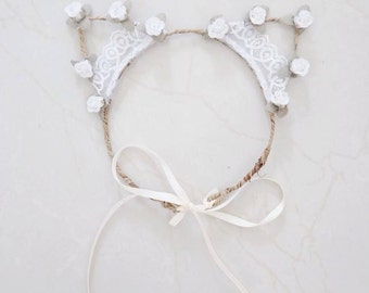 BonjourLace - Floral White Lace Kitty Cat Ear Headband