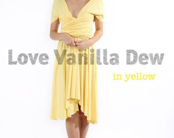 Bridesmaid Dress Infinity Dress Lemon Yellow Knee Length Wrap Convertible Dress Wedding Dress