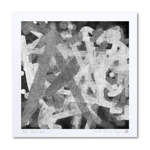 Abstract Black And White Wall Art Print Sport 1