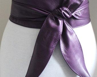 Purple Leather Obi Belt tulip tie| Waist or Hip Belt | Real Leather Belt| Handmade Belt | Wrap Belt | Pin Up accessory | Plus size