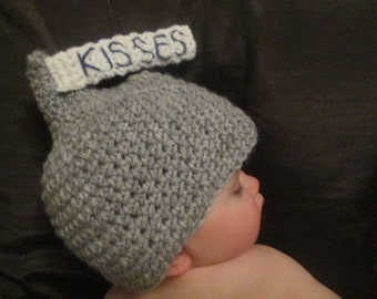 Handmade Crocheted Little Chocolate Kisses Baby Hat/ Valentine Photography Prop/Baby Shower Gift