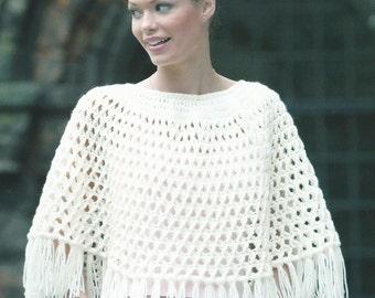 Instant Download - PDF- A Beautiful Aran Short Poncho Crochet Pattern (AD38)