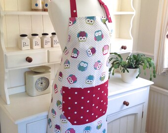 Apron, Owls & Red Dotty Apron, Owls Apron, Red Dotty Apron, Ladies' Apron, Full Apron, Womens Apron, Gift for Her, Kitchen Accessory, Gift