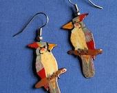 Bird Earrings, Cardinal Female, Handpainted Earrings, Cardinal, Handpainted, Dangle Earrings, Cardinal Earrings