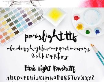 Paris Light, Modern Brush Font | Paintbrush Typeface