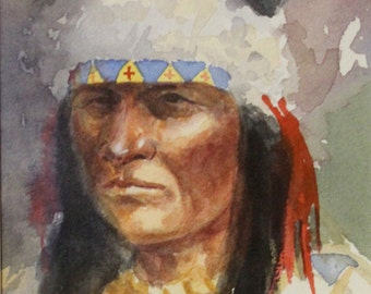 """Western Art:  Ron Stewart, Western Artist, Water Color Painting, """"Three Indians and a Mountain Man"""", Ca 1980, #731"""