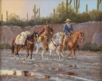 """Western Artist: Ron Stewart, """"After the Rain"""", Oil Painting, on Board, Signed Lower Left Hand Corner, #743"""