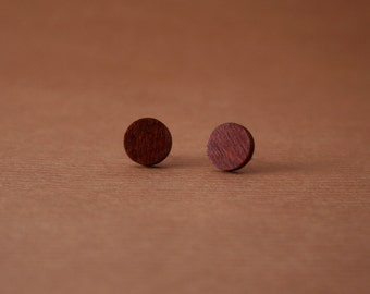 Round wooden stud earrings